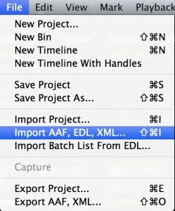 Import AFF EDL XML