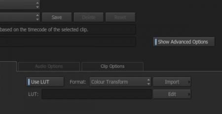 エクスポートでShow Advanced Optionsを有効にし、Use LUTボックスをオンにするとLUTが選択可能