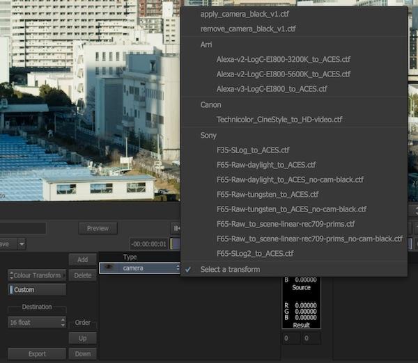 ARRI、F65RAWなど適用可能なカメラトランスフォーム