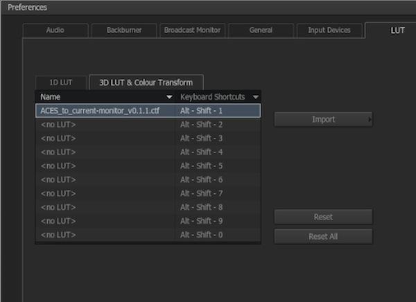 PreferencesのLUTから1Dもしくは3D LUTを読み込み