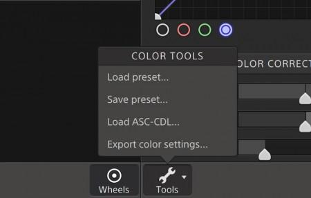 [Tools]ボタンから色調整データの書き出しと読み込み