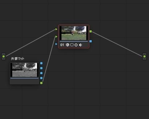 ResolveFX オブジェクト削除 OFX入力を追加して外部マットを接続