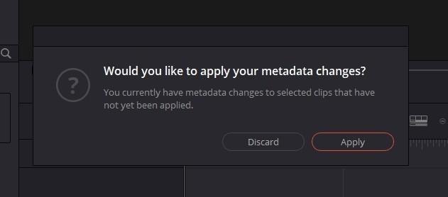保存されていないメタデータのアラート