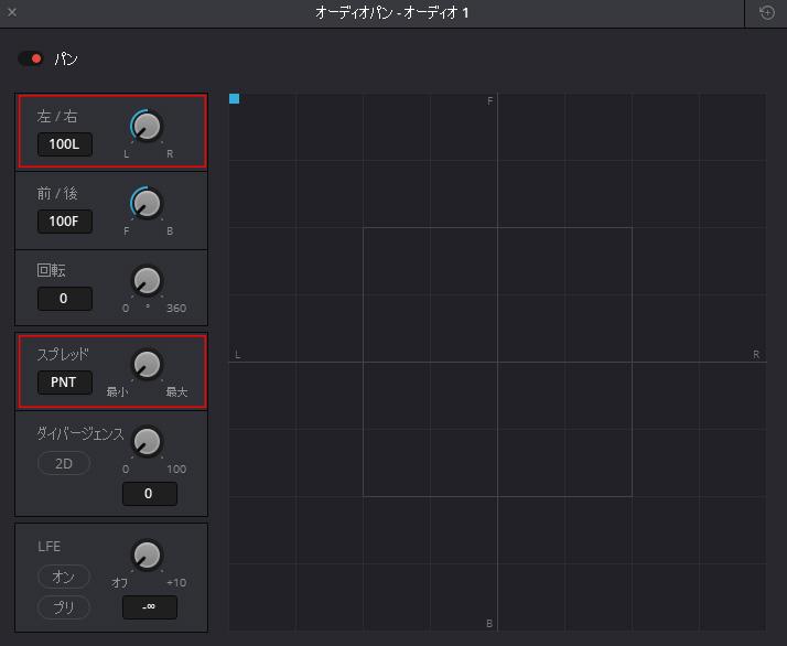 青い点を左右へ動かすと、スピーカーやヘッドホンで音が右左に動きます。