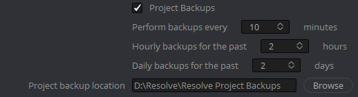 「プロジェクトバックアップ(Project Backups)」