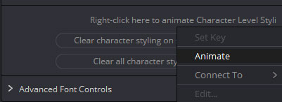 「Right-click hear to animate Charactor Level Styling」