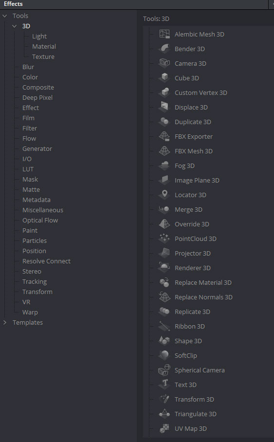 エフェクトライブラリの3Dカテゴリ