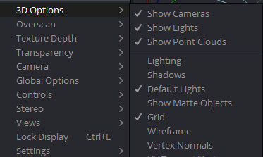 「3D Options」項目にある「Lighting」