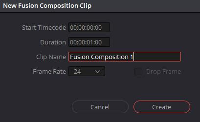 メディアプールを右クリックして「New Fusion Composition」で新規コンポジションを作成