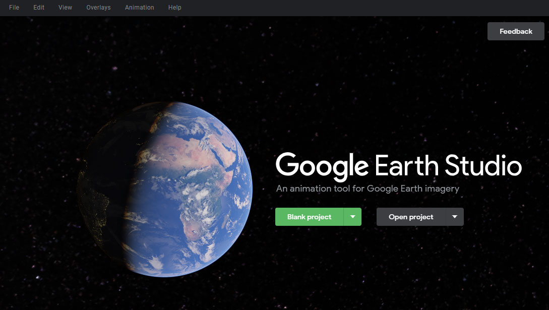 とGoogle Earth Studioの起動画面
