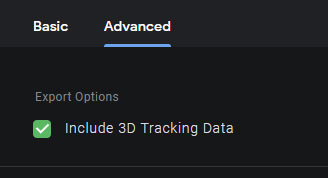 「Include 3D Tracking Data」(3D トラッキング データを含める)