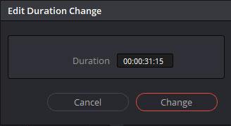 タイムコードによるクリップのデュレーションを変更