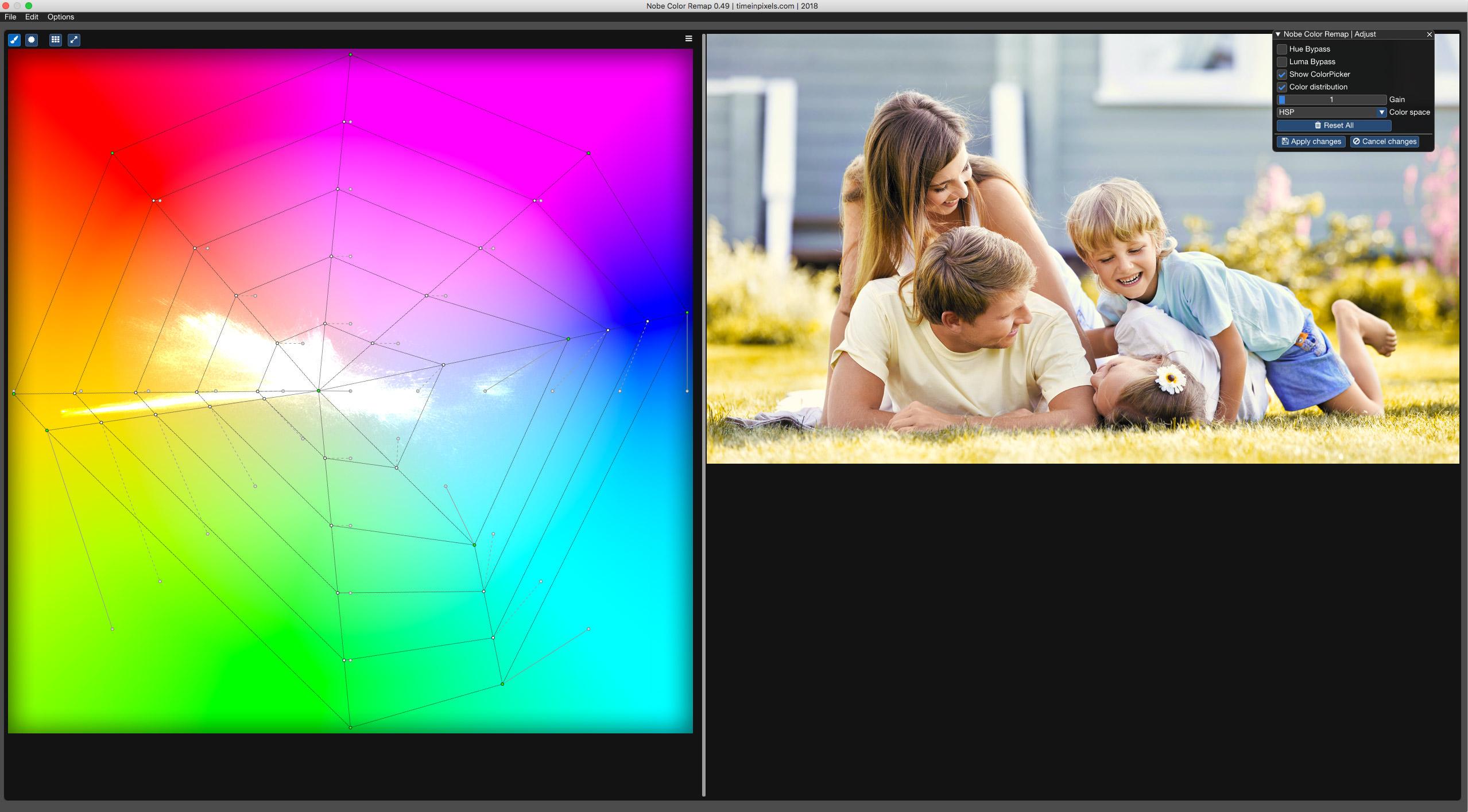 Nobe Color Remapプラグイン ウィンドウモード